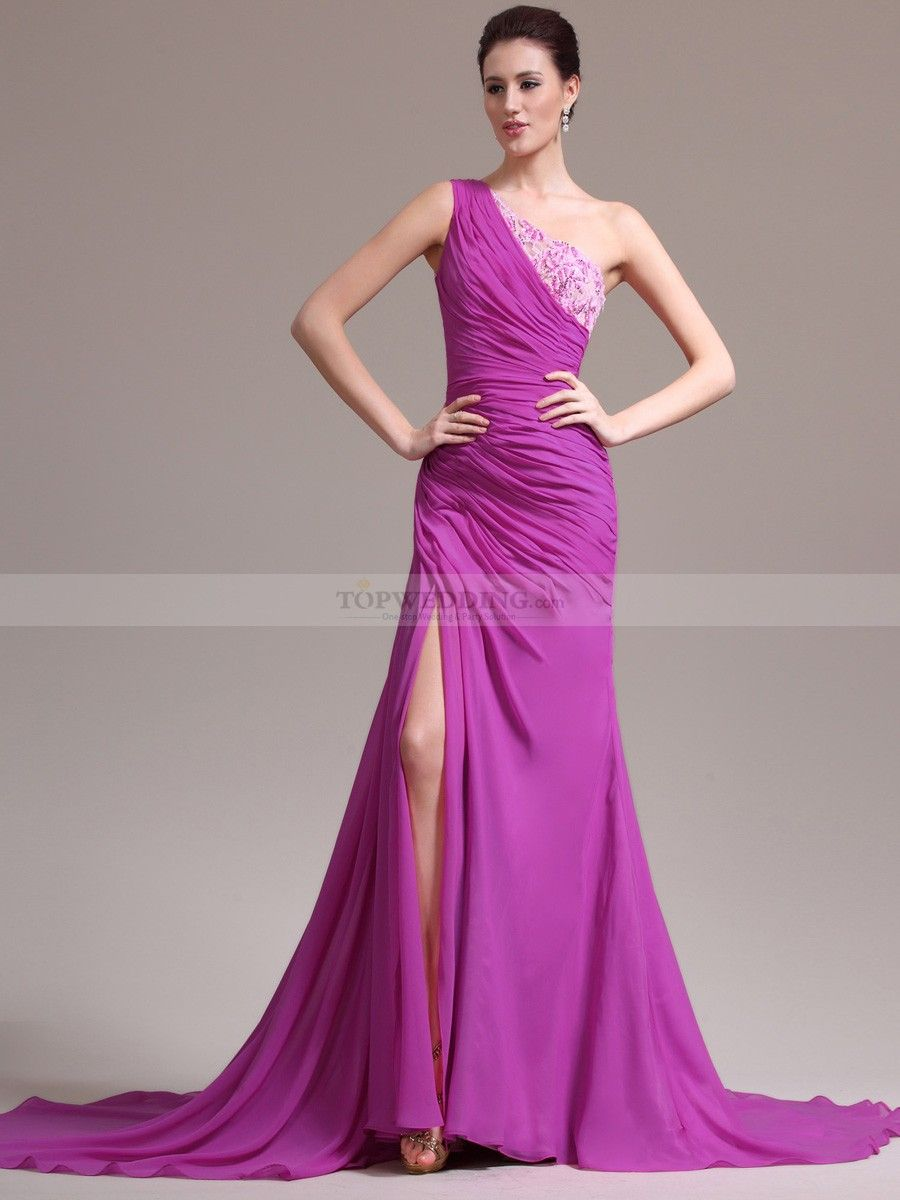 Beaded Two Toned Venus Cut Chiffon Trumpet Prom Dress | Evening ...