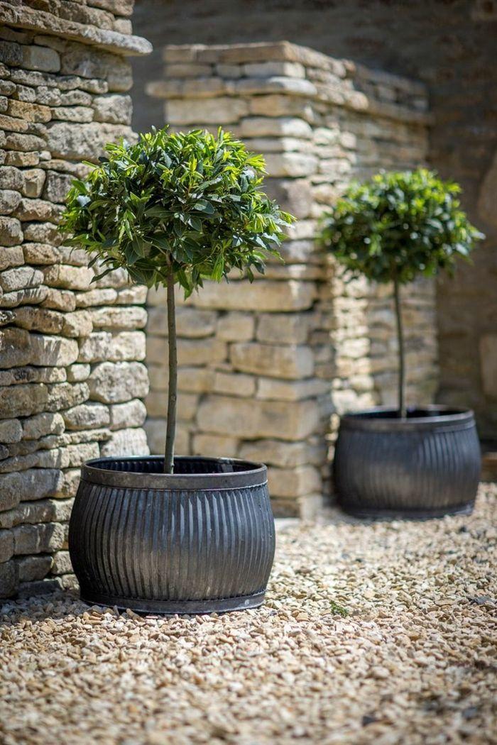 1001 ideas de decoraci n de jard n con maceteros grandes - Macetas de piedra para jardin ...