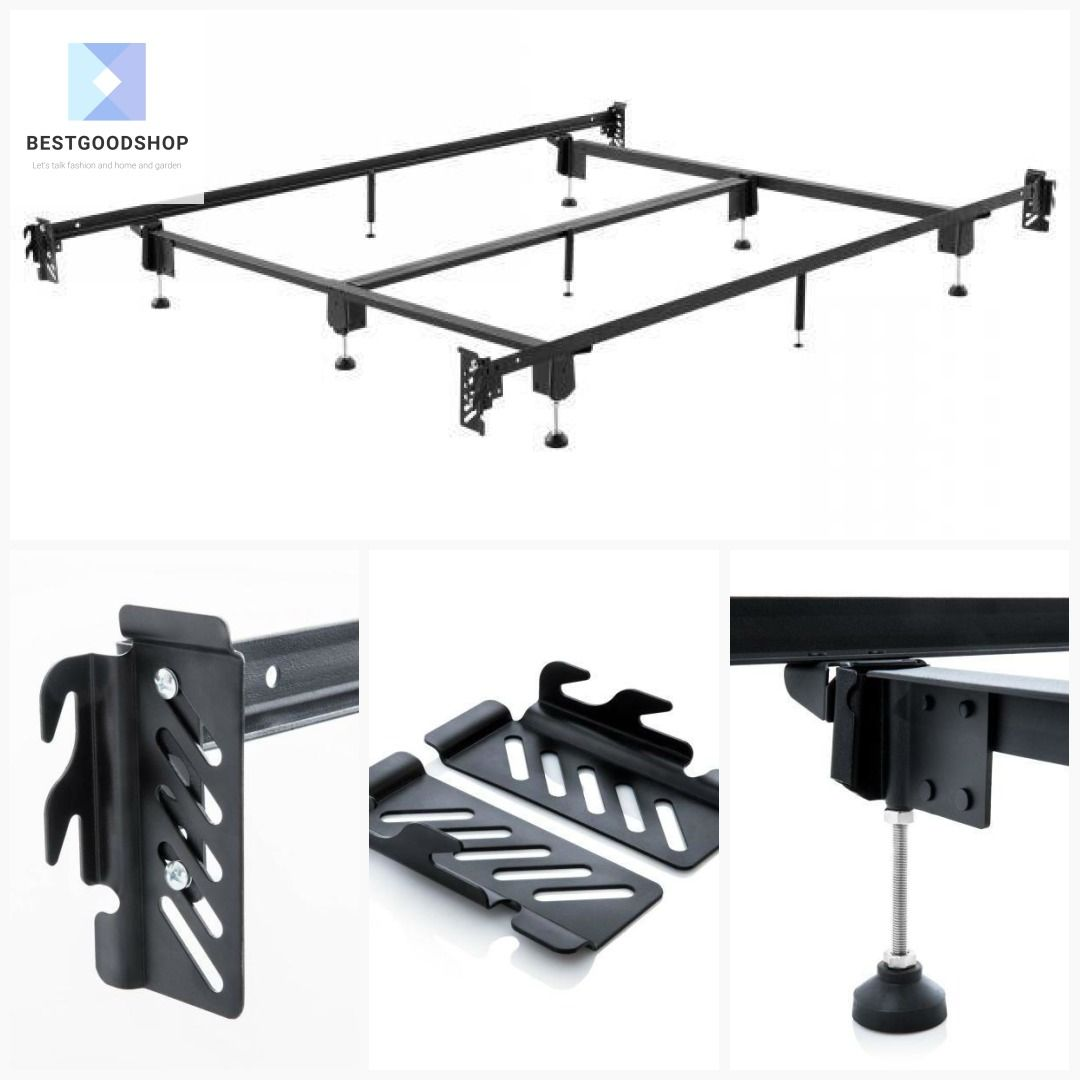 King Metal Bed Frame With Hook On Headboard And Footboard Brackets