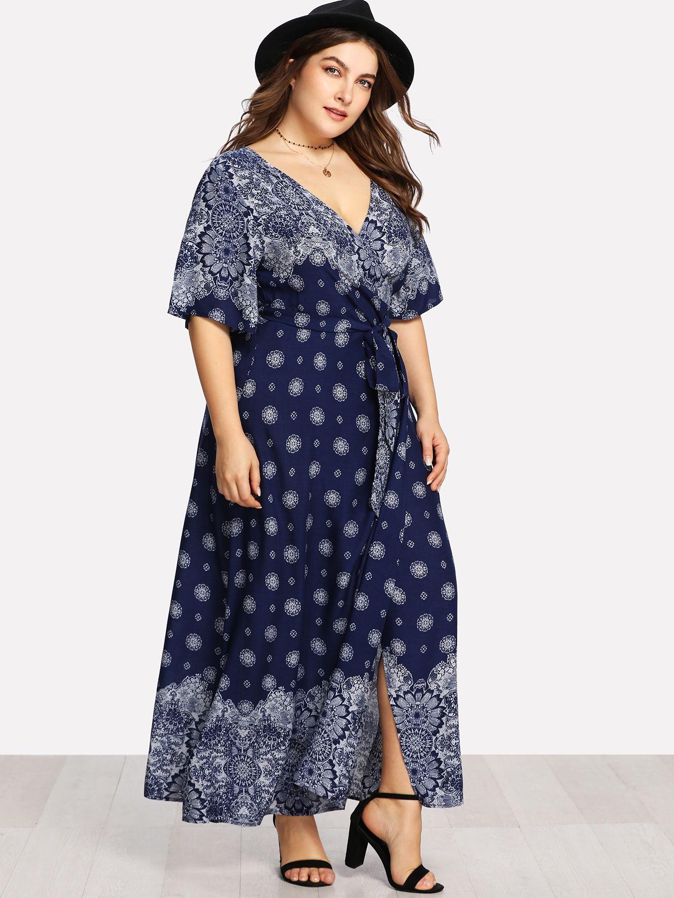 dc3643ddbb Shop Ornate Print Surplice Wrap Dress online. SheIn offers Ornate Print Surplice  Wrap Dress & more to fit your fashionable needs.