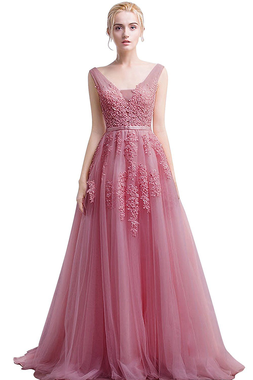 f41a5aac8bc5 Amazon.com: Babyonline Women's Double V-neck Tulle Appliques Long Evening  Cocktail Gowns: Clothing