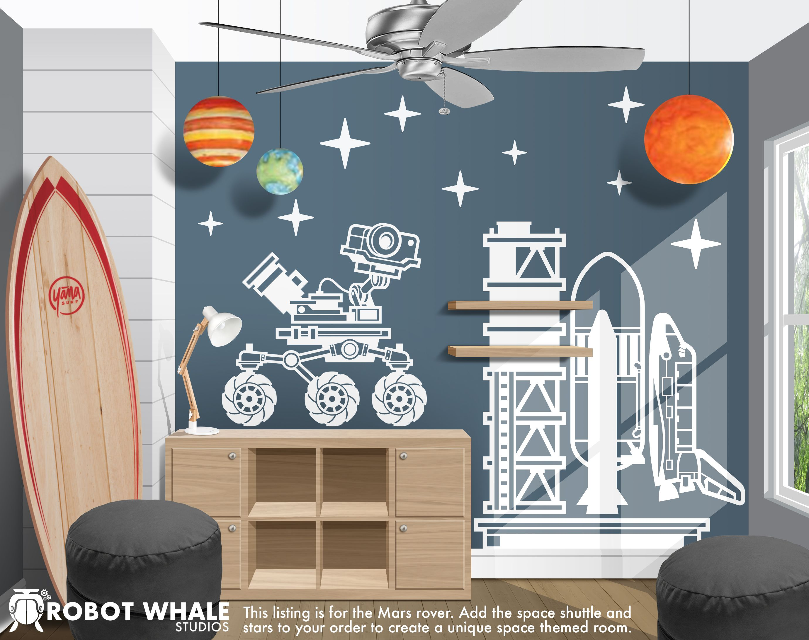 a mars rover out exploring vinyl decal for an outer space kids rh pinterest com Sky Themed Room Outer Space Decorations to Make