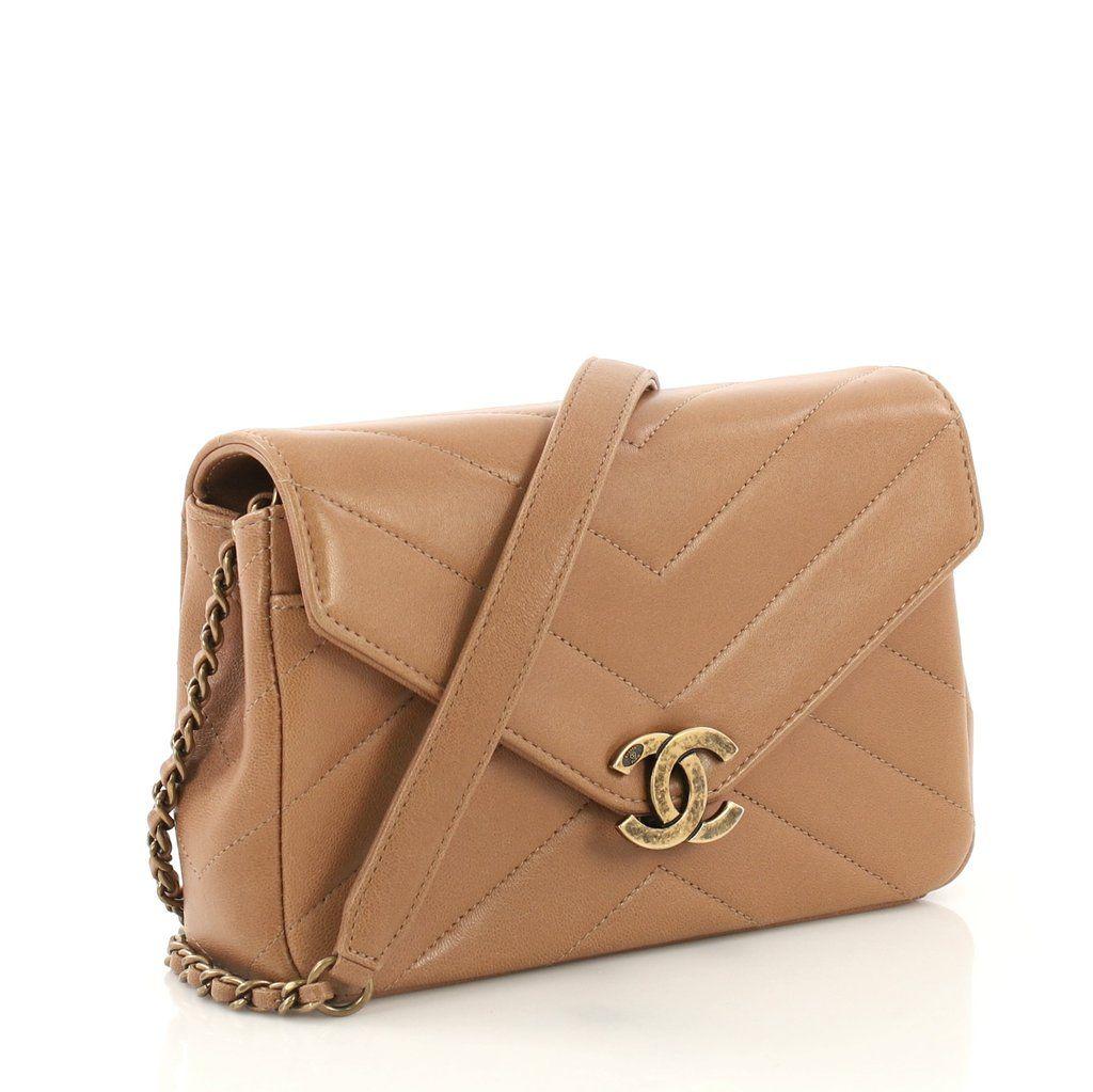 Chanel Coco Envelope Flap Bag Chevron Leather Mini Brown 4006675 Chanel Handbags Burberry Bag Chanel