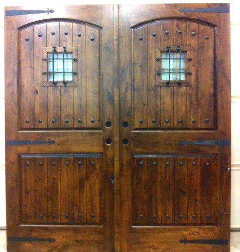 Knotty Alder Exterior Double Entry Door Rustic Old World Home Wood