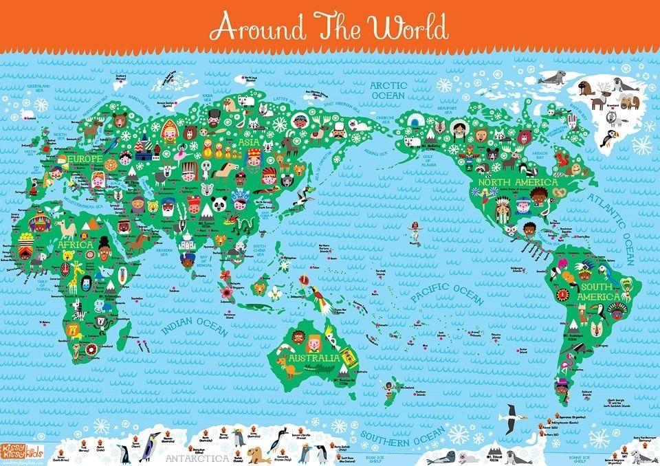 kids wall art poster world map educational gift children