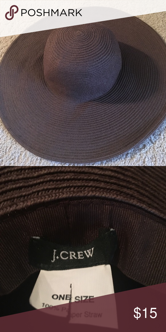 Jcrew straw floppy hat. Dark brown straw hat from J. Crew. Perfect for  summer! I have only worn a few times. There are some dents from storage. d1127f311f2