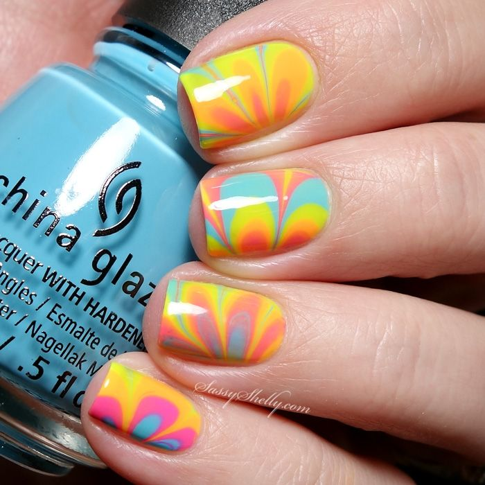 Neon Watermarble Nails with the China Glaze Electric Nights ...