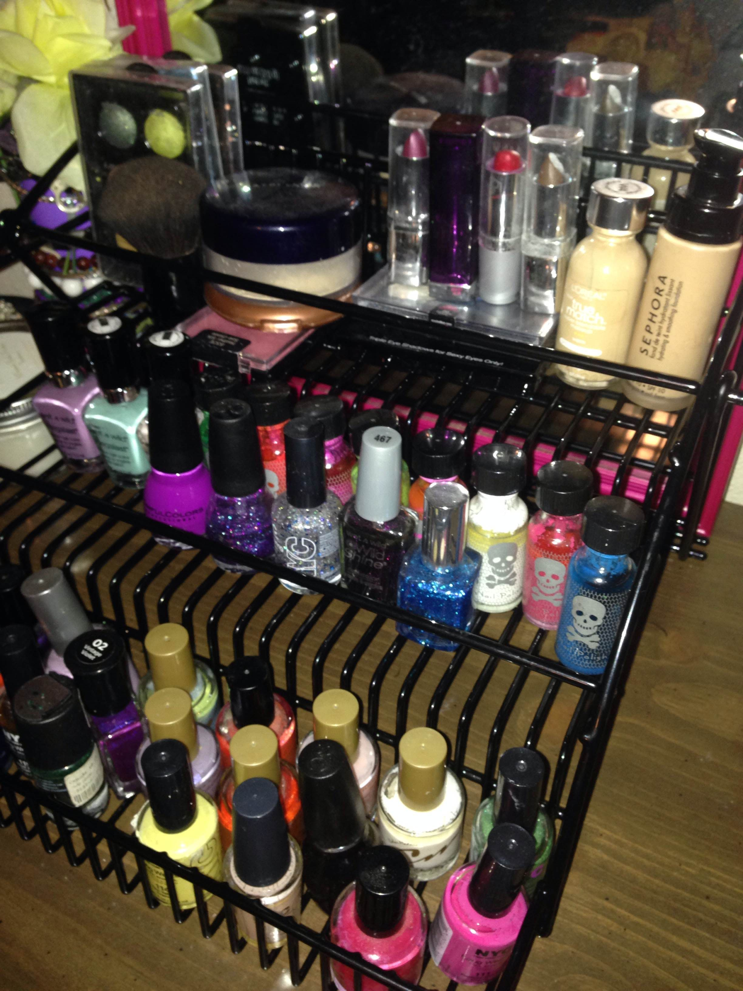 Spice rack from Lowe\'s. Holds nail polish and make-up!   DIY   Pinterest