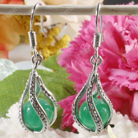 New 8mm Elegant Jade Bead Inside Cage Dangle Earrings