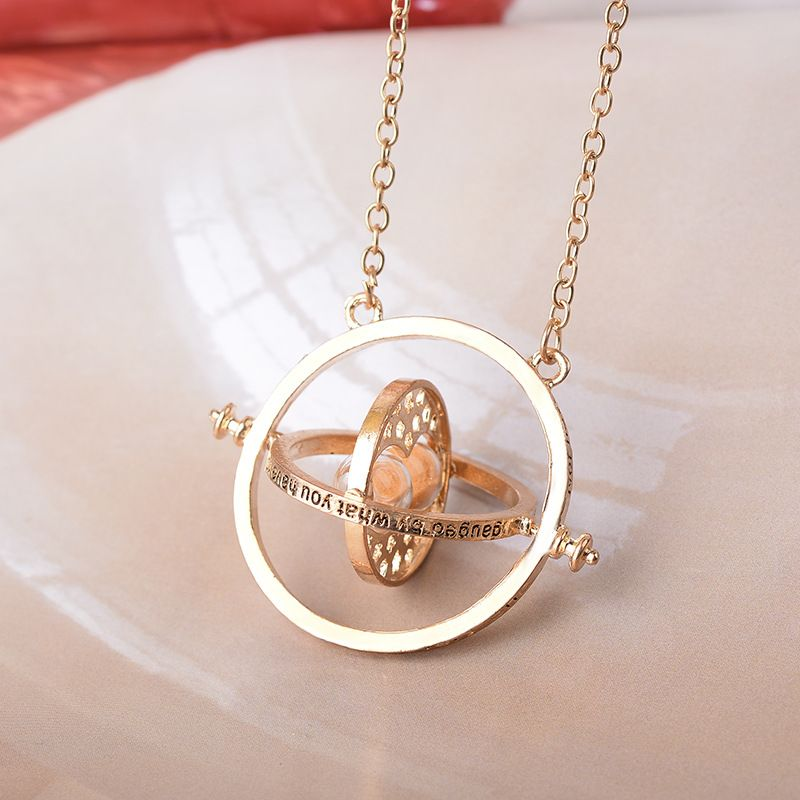Time turner rotating hourglass pendant necklace gold silver plated time turner rotating hourglass pendant necklace gold silver plated mozeypictures Image collections