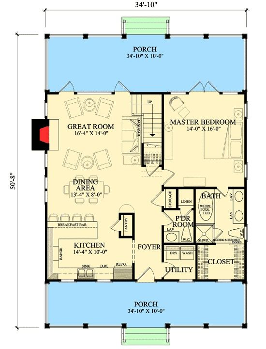 Plan 32412WP: Front And Back Porches
