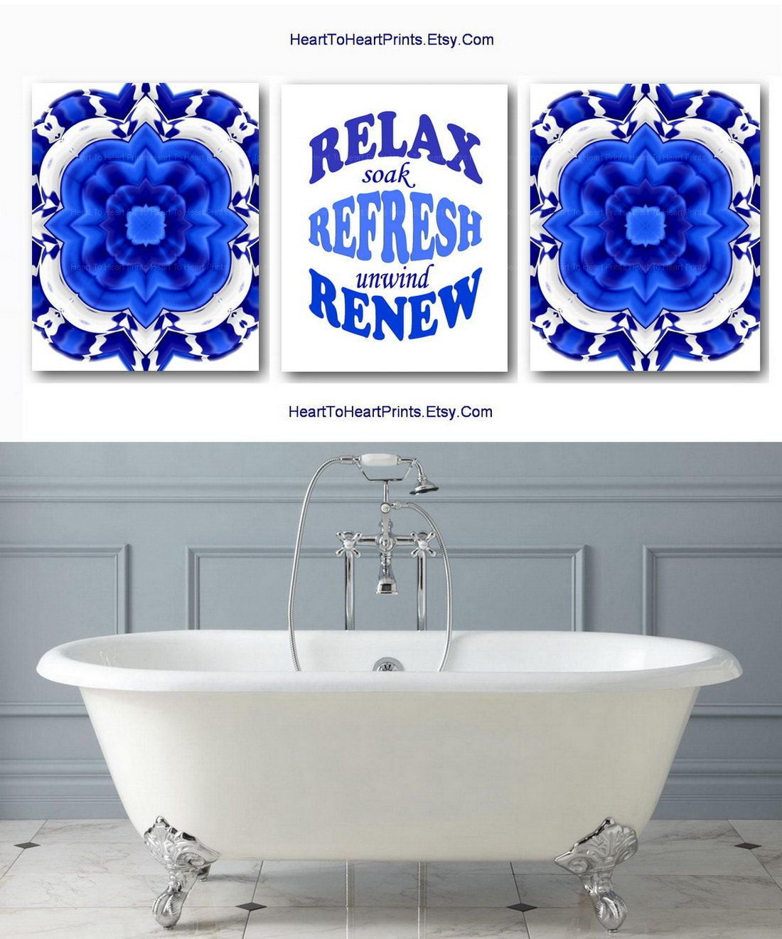 Royal Blue Bathroom Set Of 3 Prints Blue Bathroom Wall Art Bathroom Quote Printable Wall Art Blue Bathro Royal Blue Bathrooms Blue Bathroom Blue Bathroom Decor