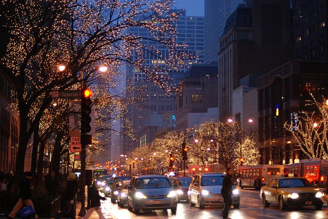 Michigan Avenue at Christmas time...can't wait to see it tomorrow ...