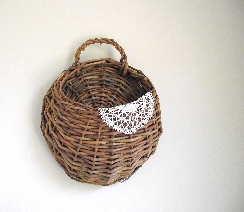 Wall Hanging Basket woven wall basket willow wall pocket wall hanging rustic cabin
