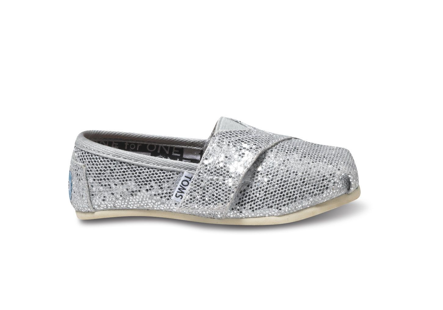 undefined Silver Glitter Tiny TOMS Classics