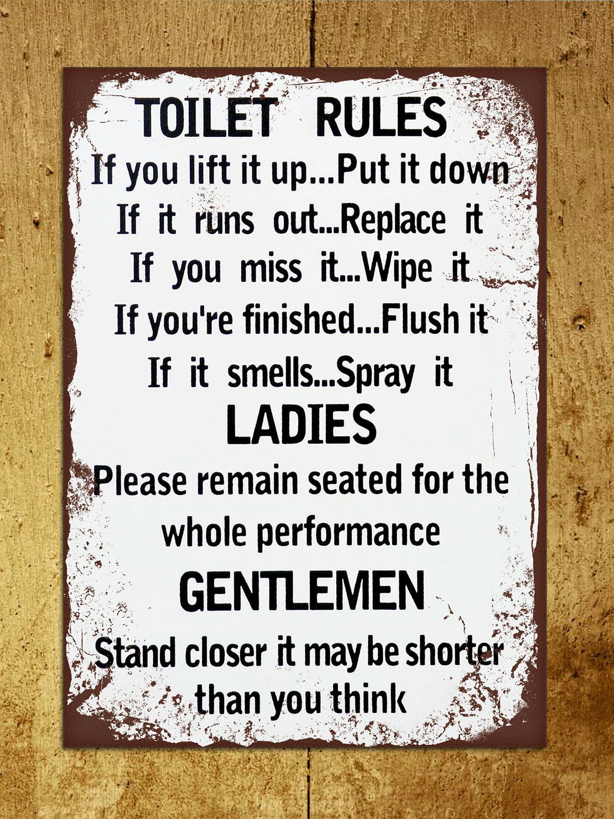 Details About Vintage Retro Style Toilet Rules Funny Bathroom Metal Sign Tin Wall Door Plaque Bathroom Humor Toilet Rules Retro Home Decor
