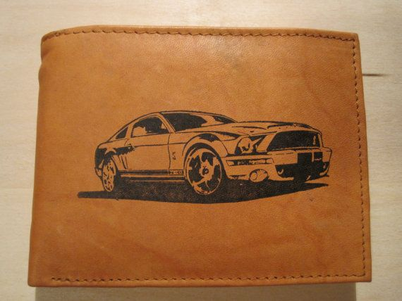 Mens Leather Bi-Fold Wallet w// 1966 FORD MUSTANG GT Image *Great Gift*