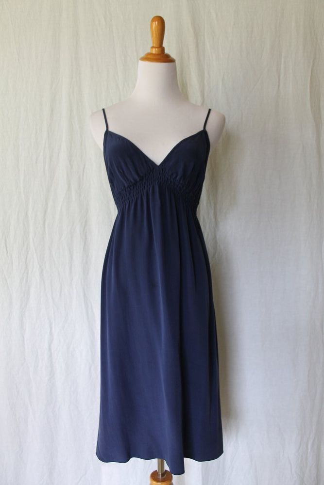 f7196a877c51 Anthropologie Twelfth Street Cynthia Vincent Navy Blue Silk Slip Dress Size  XS #CynthiaVincent #SlipDress #Cocktail
