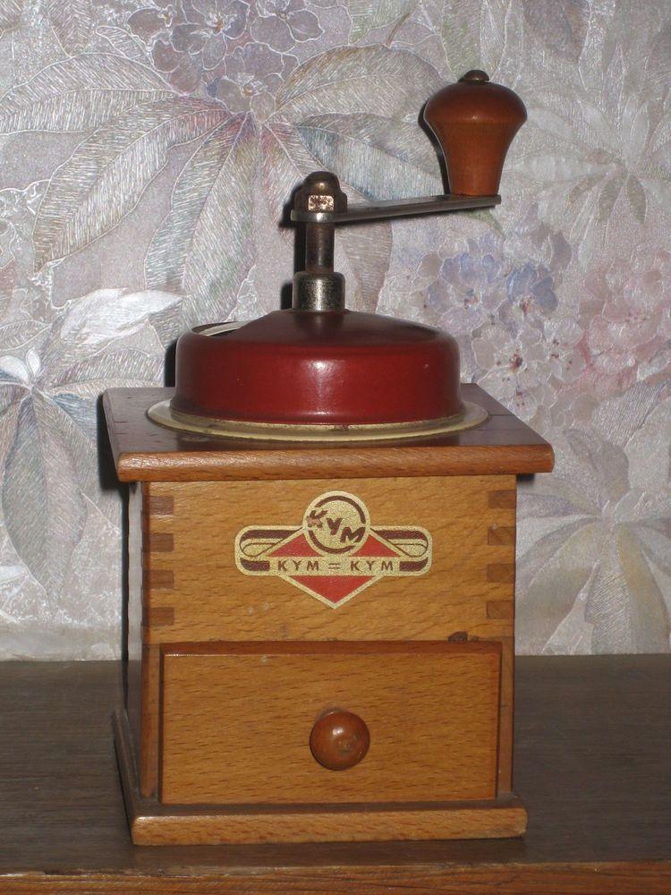 moulin à café KYM à capot rouge et beige