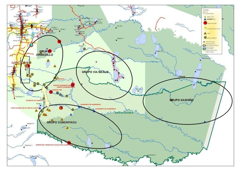 ANTES. Mapa Ministerio del Ambiente. Pueblos no contactados