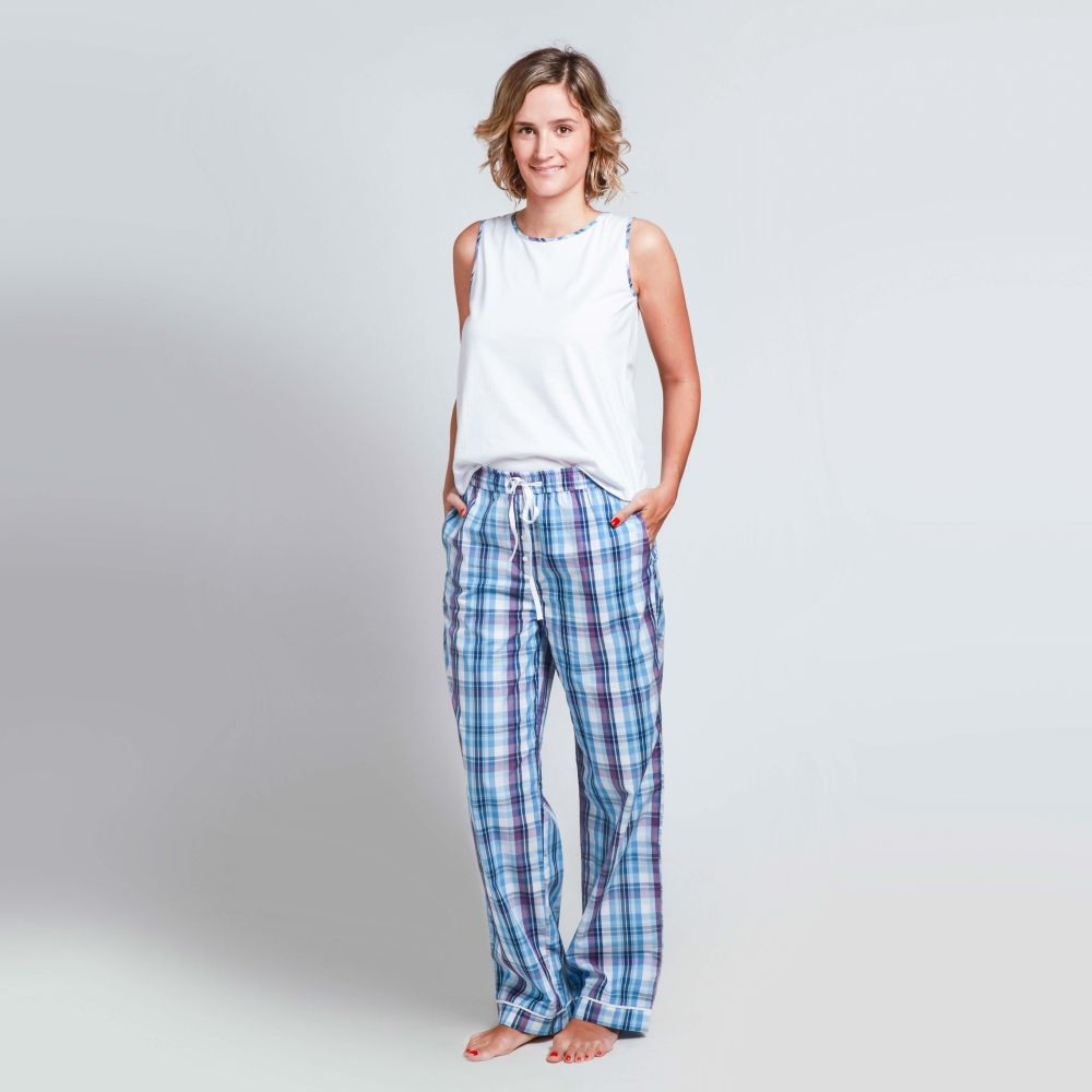 3d6b3be090 Pijama PILAR® INTIMATES Verano 2016 - Pantalón + camisilla cuadros lilas