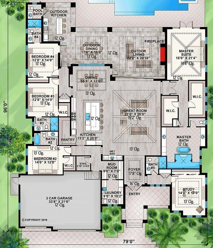 Pin By Tania Fruet On Hazak Lakasok Beach House Plans One Level House Plans Florida House Plans