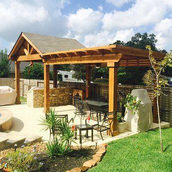 Rough Cedar Gable Roof Patio Cover With Exposed Cedar Ceiling And Attached Rough Cedar Pergola Yelp Backyard Backyard Patio Backyard Patio Designs