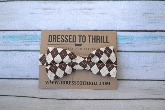 Brown & White Argyle Bowtie for baby, toddler, little boy, child by Dressed to Thrill - www.idresstothrill.etsy.com