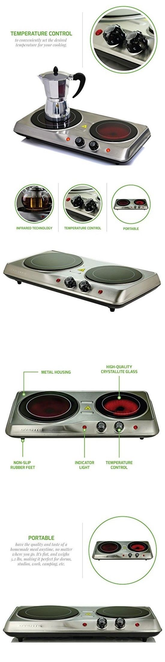 531092cc040 Burners and Hot Plates 177751  Electric Cooktop Burner Infrared Ceramic  Glass Hot Plate 2 Two Cooking Stove New -  BUY IT NOW ONLY   55.1 on  eBay   burners ...