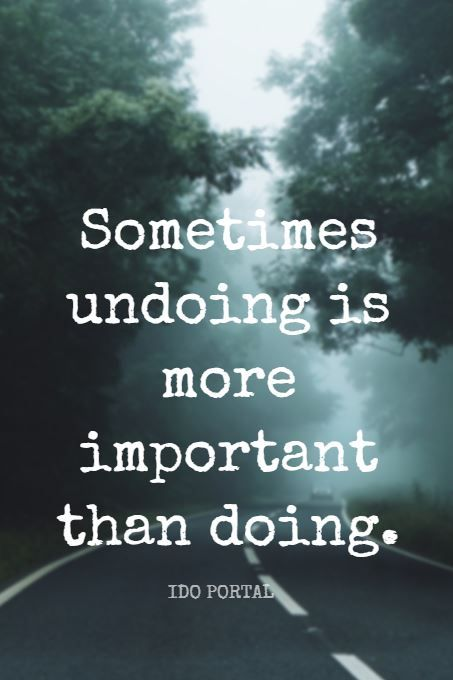 """""""Sometimes undoing is more important than doing."""" - Movement teacher Ido Portal on the School of Greatness podcast"""