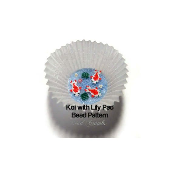 Fun beading pattern of a colorful Koi fish and little lily ...