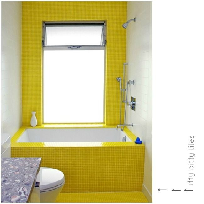 little yellow tiles that wrap up the tub and up the wall. | Paint ...