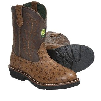 John Deere Footwear Johnny Popper Cowboy Boots - Ostrich Print (For Youth Boys and Girls) in Tan