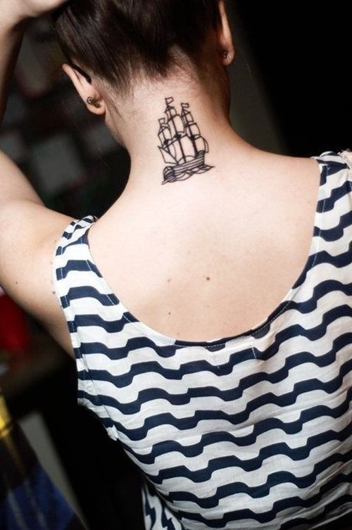 Neck Boat Tattoo For Women Tattoos For Women Picture Tattoos Girl Tattoos Ship Tattoo
