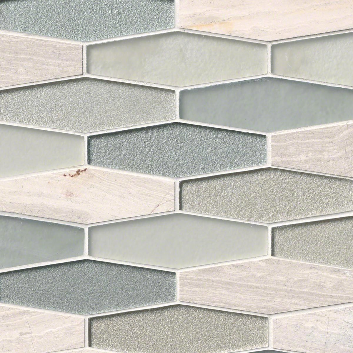 Europa Elongated Hexagon 8 Mm Gl And Stone Mosaic Backsplash Tile
