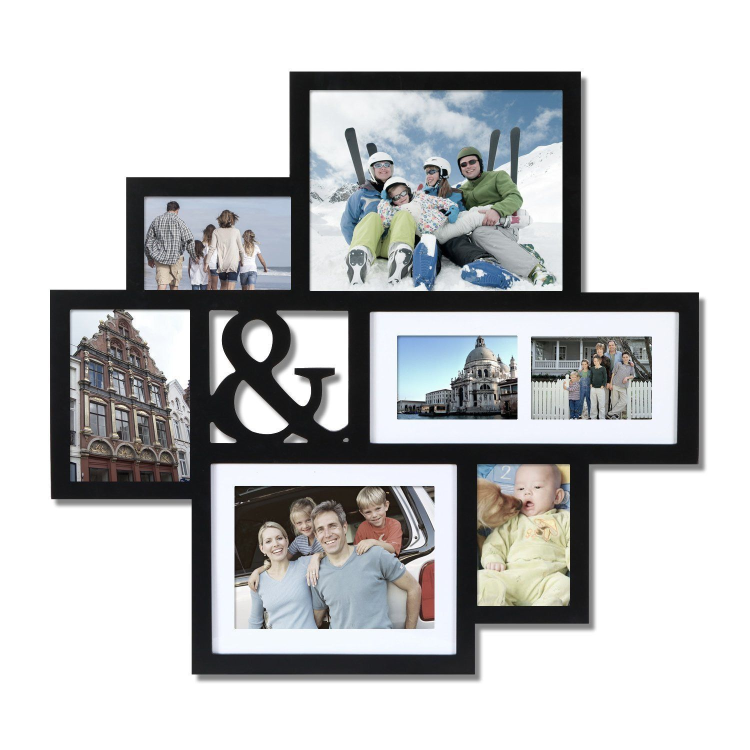 Black Wood Wall Hanging Picture Photo Frame Collage with Ampersand ...