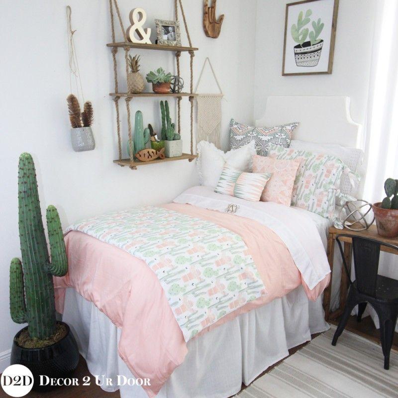 Trendy Dorm Goals Peach Amp Green Cactus Designer Dorm