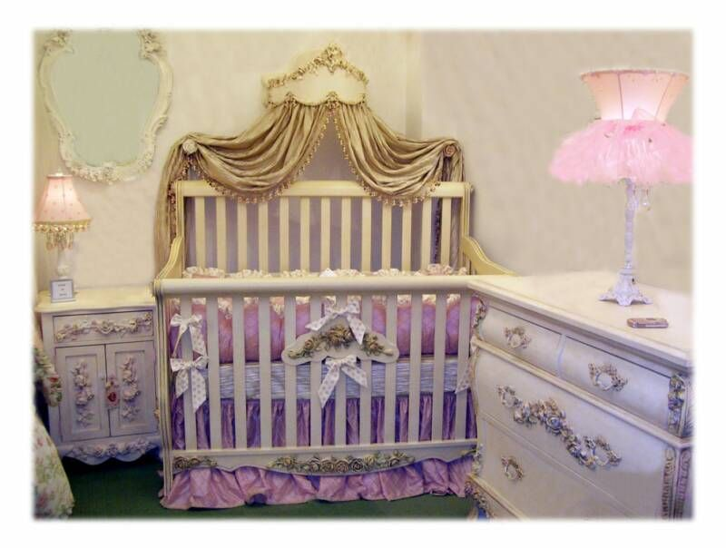 Pink Baby And Toddler Princesses Crib Bed Bedding Room Love The Gold Drapery Decor