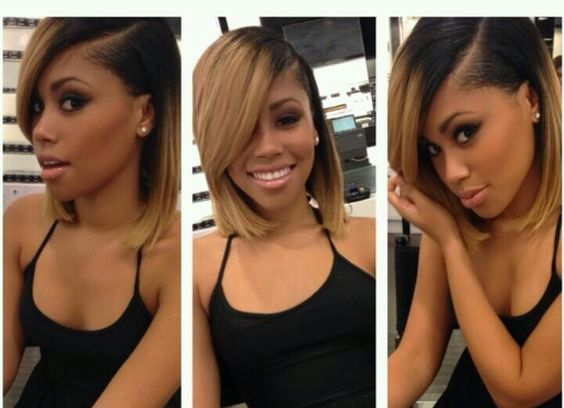 Short Hair Ombre Weave Black And Honey Blonde 2 Tone Blonde