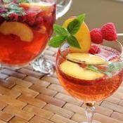 Basil, Peach and Raspberry Summer Sangría