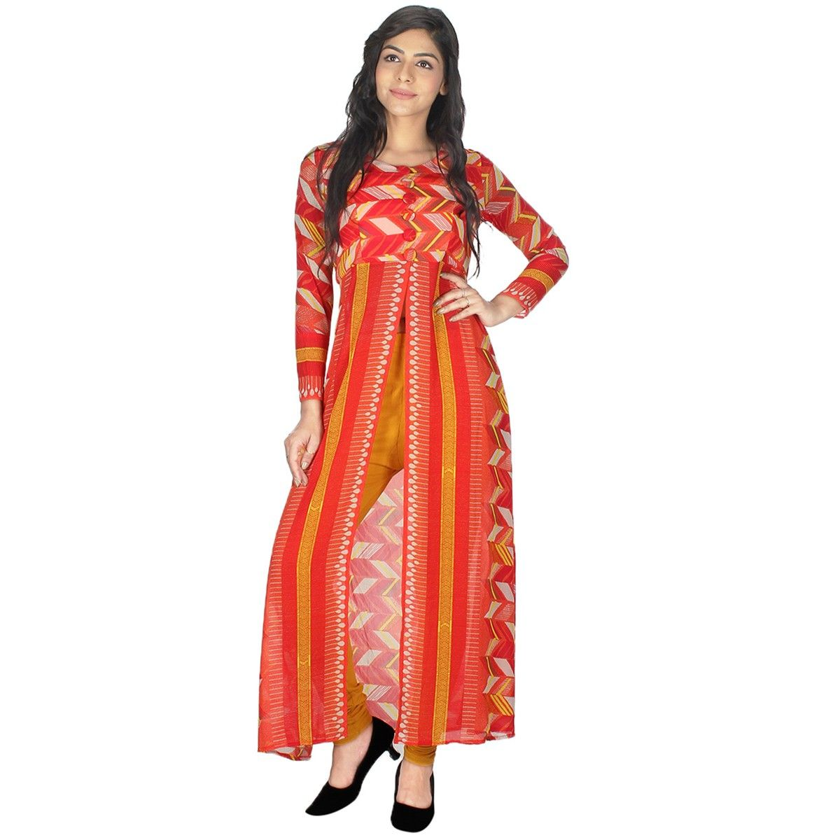 ad6f9811c Georgette+Red+Printed+Stitched+Overlay+Kurti+-+T6100O at Rs 649