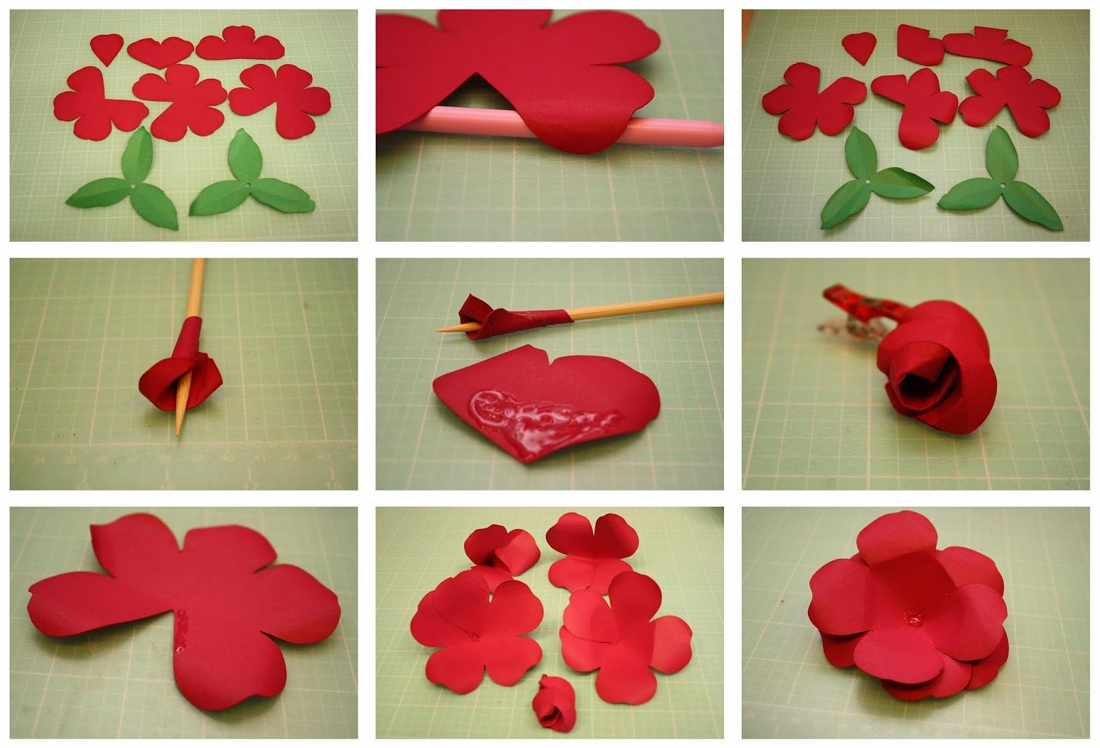 Easy paper flowers - Rolled Rose And Easy To Assemble Rose 3d Paper Flowers