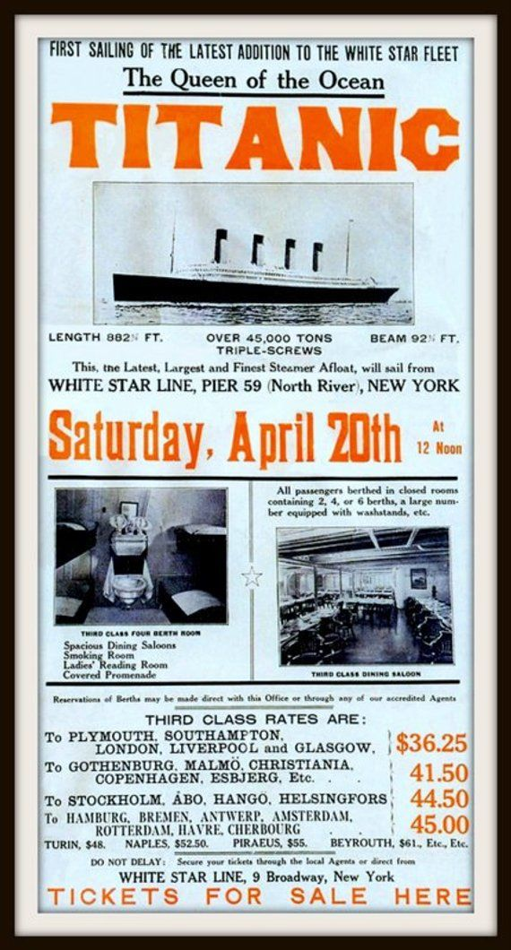 Titanic Maiden and Final Voyage Advert Poster 1912 - Print ...