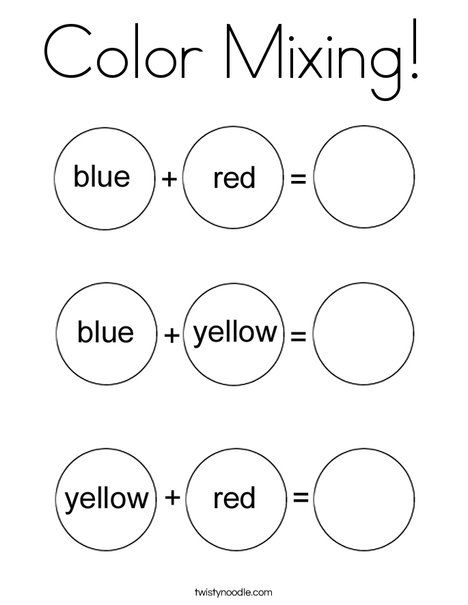 Color Mixing Coloring Page From Twistynoodle Com With Images