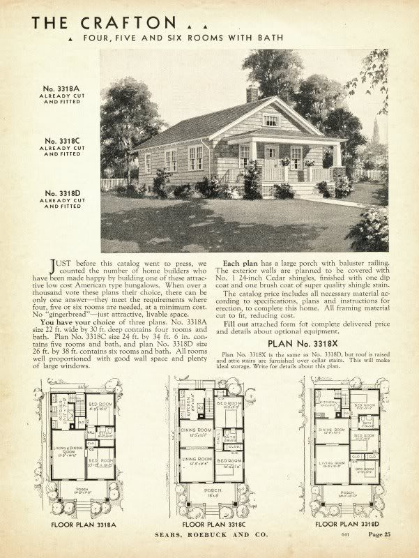 Sears crafton 1932 3318a 3318c 3318d 1933 3318a 3318c for 1925 bungalow floor plan