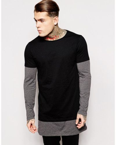 d3b24e6e3c10 ASOS   Black Super Longline Long Sleeve T-shirt With Double Layer And Side  Zip for Men   Lyst