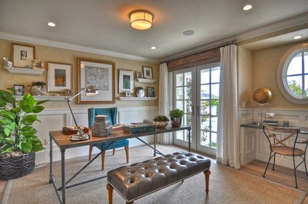 Grasscloth adds lovely texture to the beautiful beach style home office