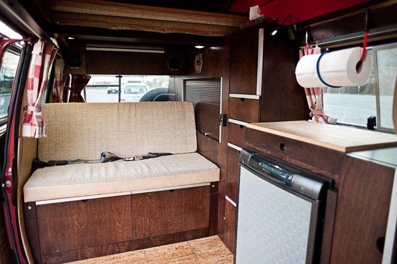 Custom cherry wood vanagon interior camp tailgate road for Interior westfalia