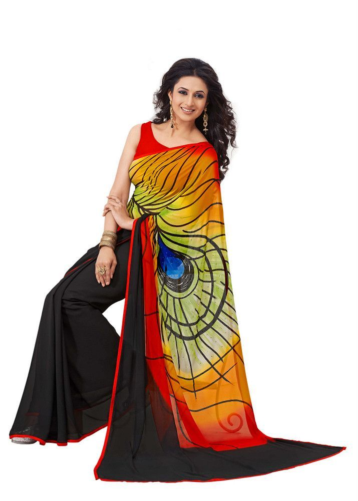 379535fbe710a8 Gorgeous Graphic Printed Peacock Feather Design Saree D-106 | Saree ...