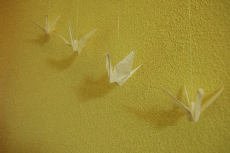 Paper Bird Mobile (white) by LittleWanderingArt on Etsy